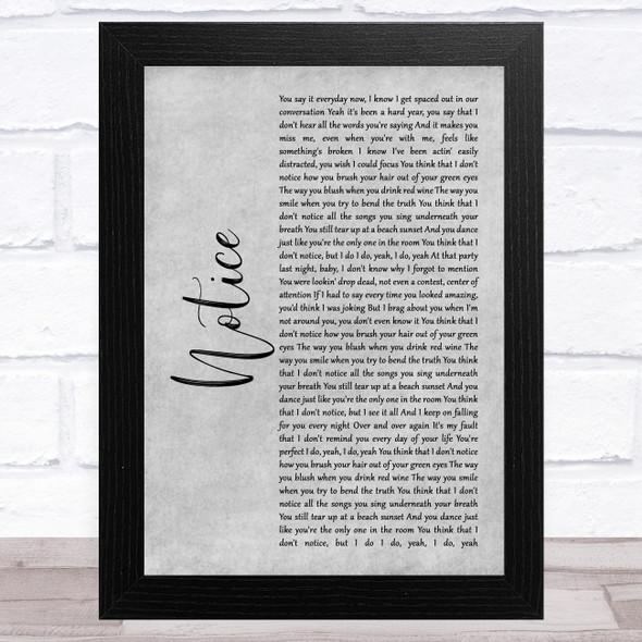 Thomas Rhett Notice Grey Rustic Script Song Lyric Music Art Print