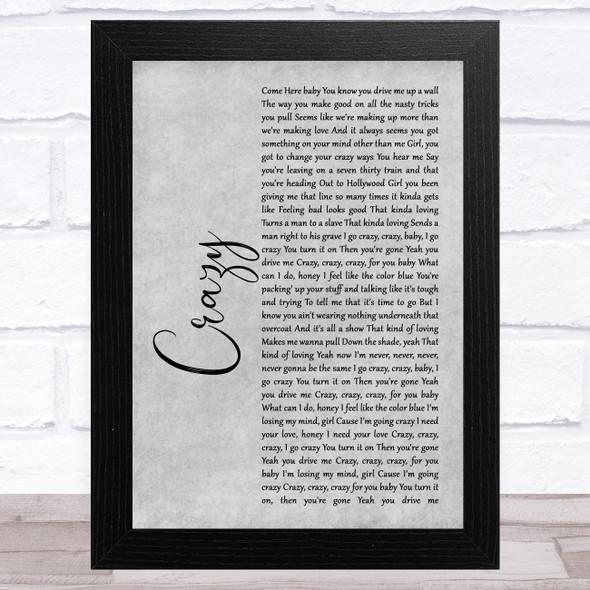 Aerosmith Crazy Grey Rustic Script Song Lyric Music Art Print