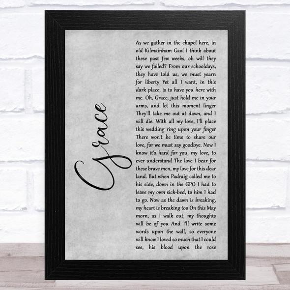 Jim McCann Grace Grey Rustic Script Song Lyric Music Art Print