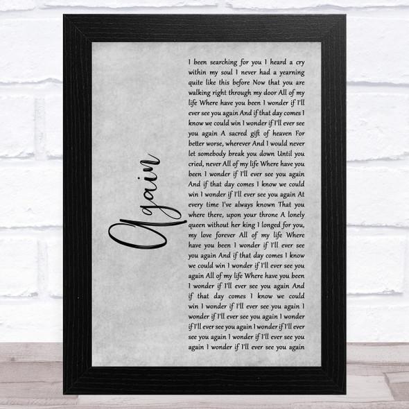 Lenny Kravitz Again Grey Rustic Script Song Lyric Music Art Print