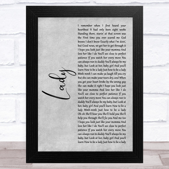 Brett Young Lady Grey Rustic Script Song Lyric Music Art Print