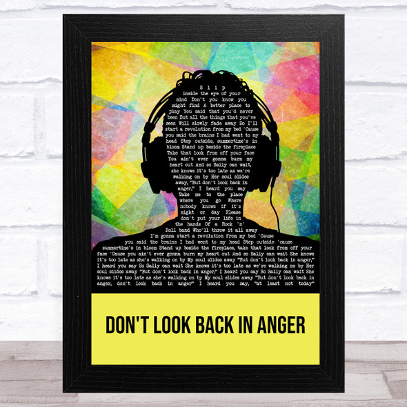 Oasis Don't Look Back In Anger Multicolour Man Headphones Song Lyric Music Art Print