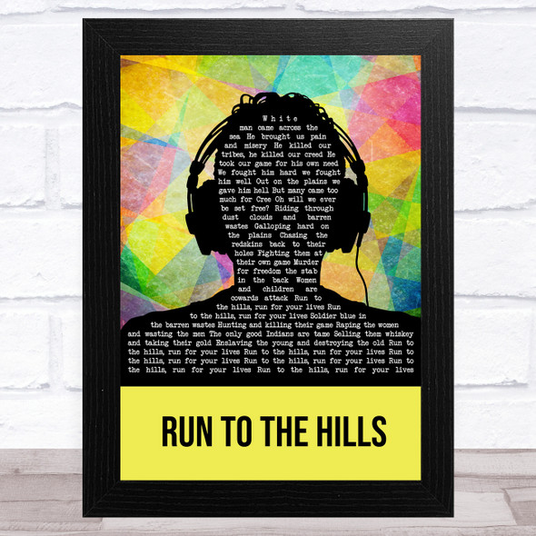Iron Maiden Run To The Hills Multicolour Man Headphones Song Lyric Music Art Print