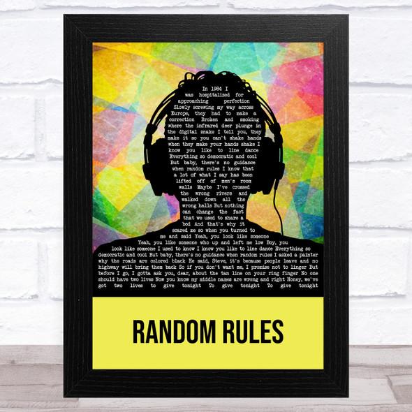 Silver Jews Random Rules Multicolour Man Headphones Song Lyric Music Art Print