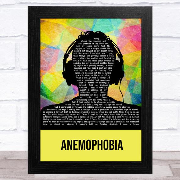 Deaf Havana Anemophobia Multicolour Man Headphones Song Lyric Music Art Print