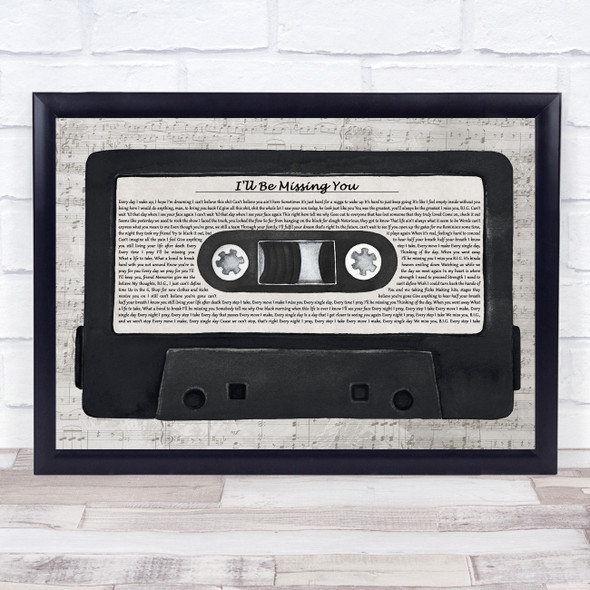Puff Daddy I'll Be Missing You Music Script Cassette Tape Song Lyric Music Art Print