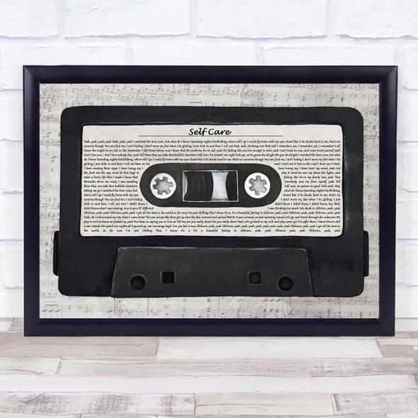 Mac Miller Self Care Music Script Cassette Tape Song Lyric Music Art Print
