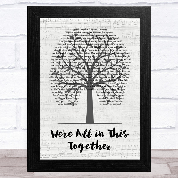 Zac Efron & Vanessa Hudgens We're All in This Together Music Script Tree Song Lyric Music Art Print