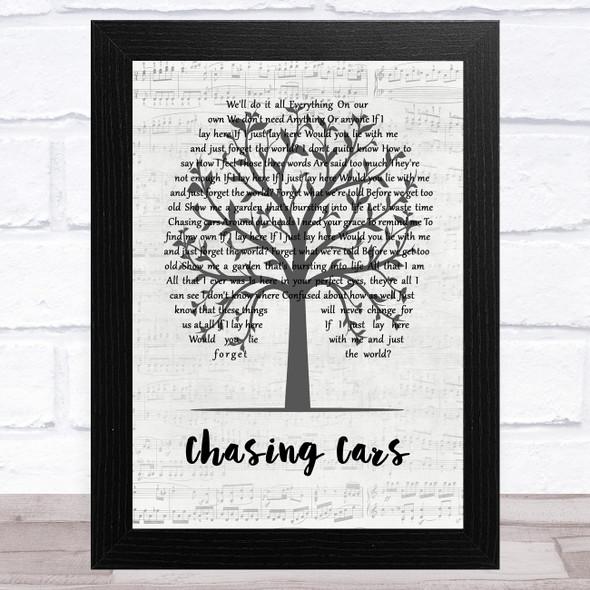 Snow Patrol Chasing Cars Music Script Tree Song Lyric Music Art Print