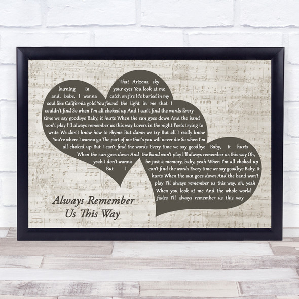 Lady Gaga Always Remember Us This Way Landscape Music Script Two Hearts Song Lyric Music Art Print