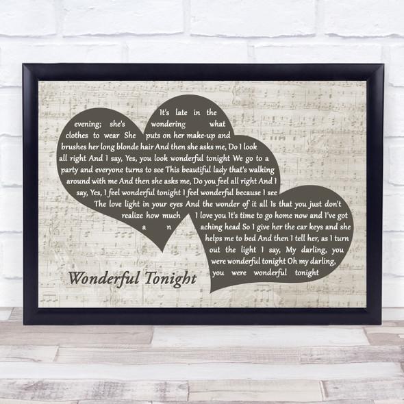 Eric Clapton Wonderful Tonight Landscape Music Script Two Hearts Song Lyric Music Art Print