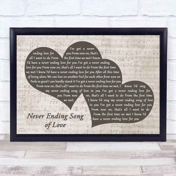 The New Seekers Never Ending Song of Love Landscape Music Script Two Hearts Song Lyric Music Art Print