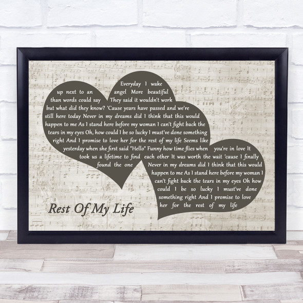 Bruno Mars Rest Of My Life Landscape Music Script Two Hearts Song Lyric Music Art Print