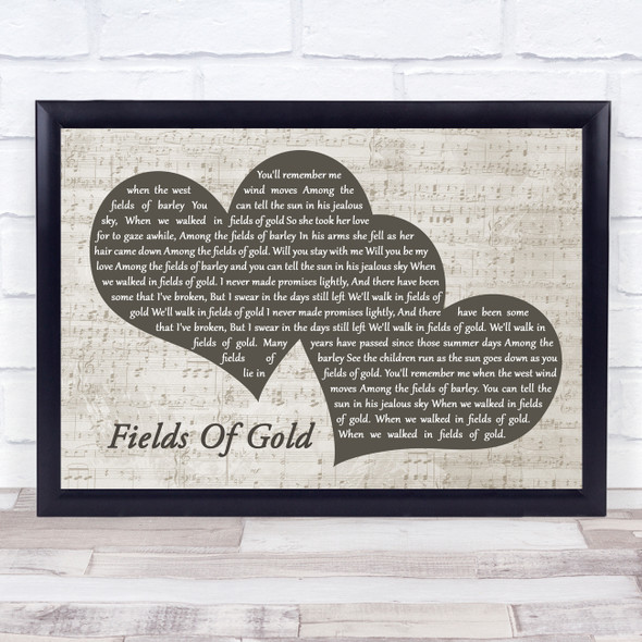 Eva Cassidy Fields Of Gold Landscape Music Script Two Hearts Song Lyric Music Art Print