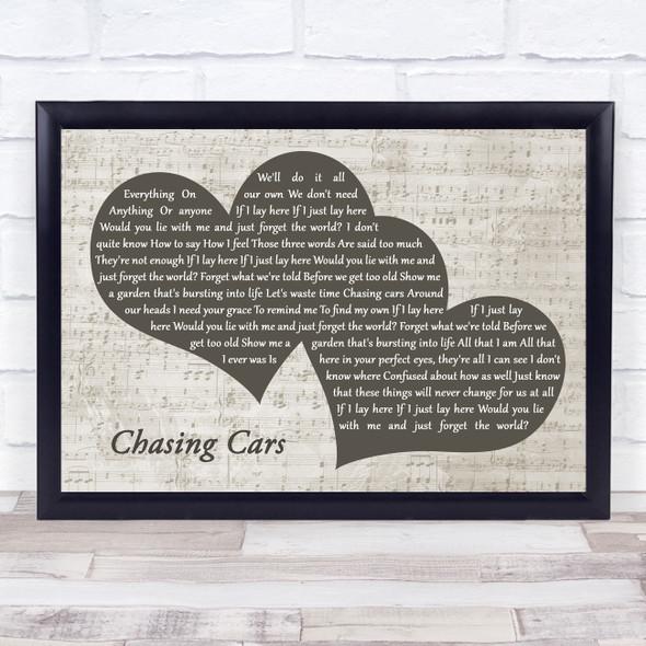 Snow Patrol Chasing Cars Landscape Music Script Two Hearts Song Lyric Music Art Print