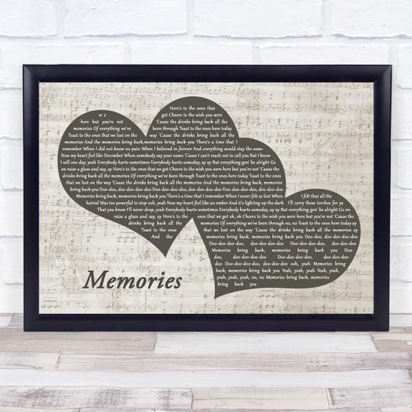 Maroon 5 Memories Landscape Music Script Two Hearts Song Lyric Music Art Print