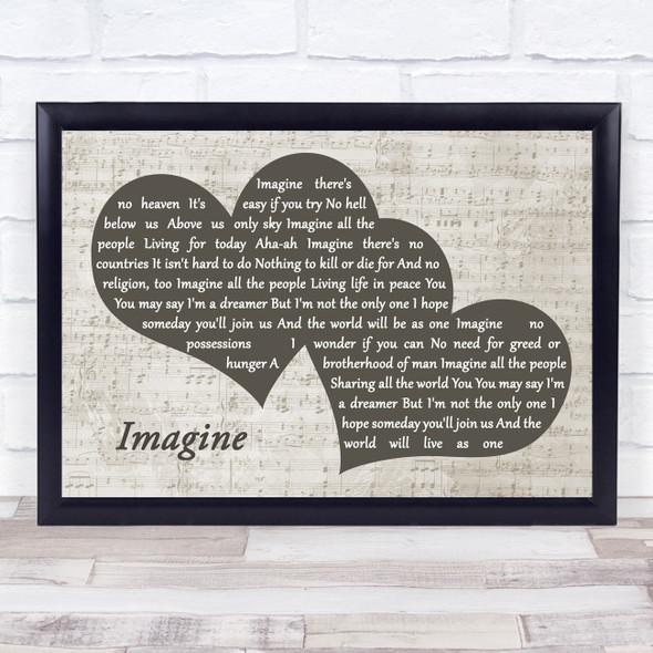 John Lennon Imagine Landscape Music Script Two Hearts Song Lyric Music Art Print