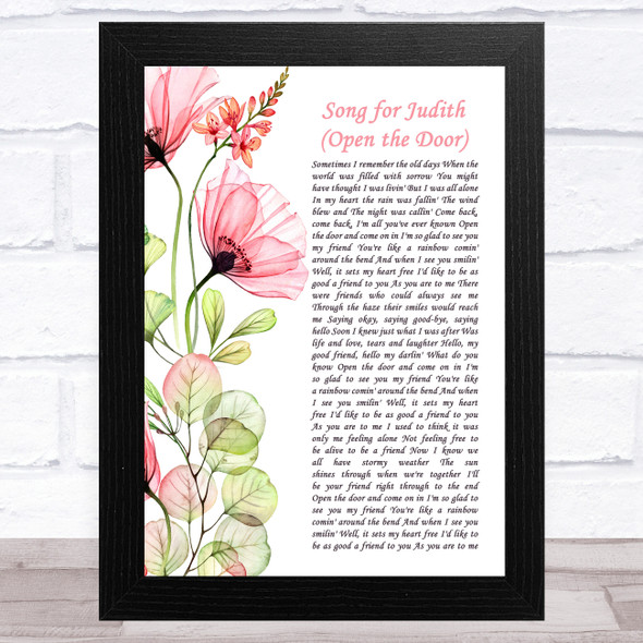 Judy Collins Song for Judith (Open the Door) Floral Poppy Side Script Song Lyric Music Art Print