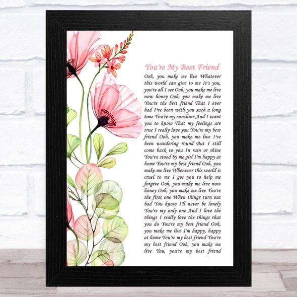 Queen You're My Best Friend Floral Poppy Side Script Song Lyric Music Art Print