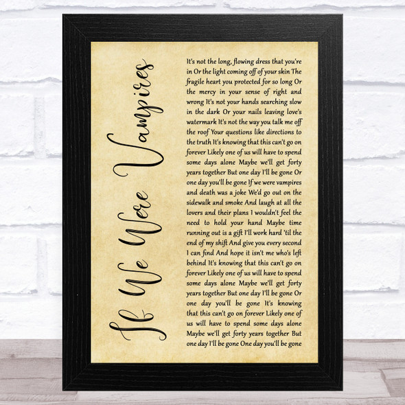 Jason Isbell and the 400 Unit If We Were Vampires Rustic Script Song Lyric Music Art Print
