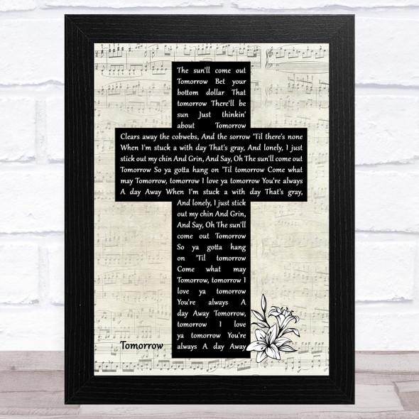 Quvenzhané Wallis Tomorrow Music Script Christian Memorial Cross Song Lyric Music Art Print