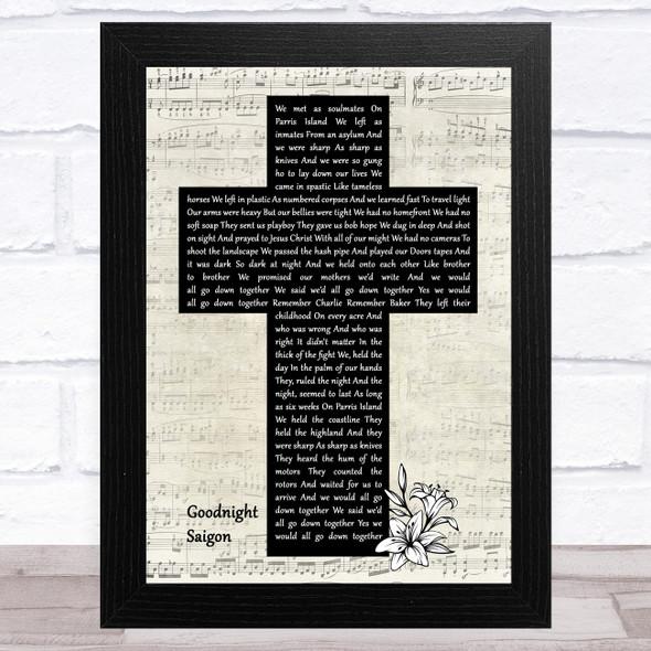 Billy Joel Goodnight Saigon Music Script Christian Memorial Cross Song Lyric Music Art Print