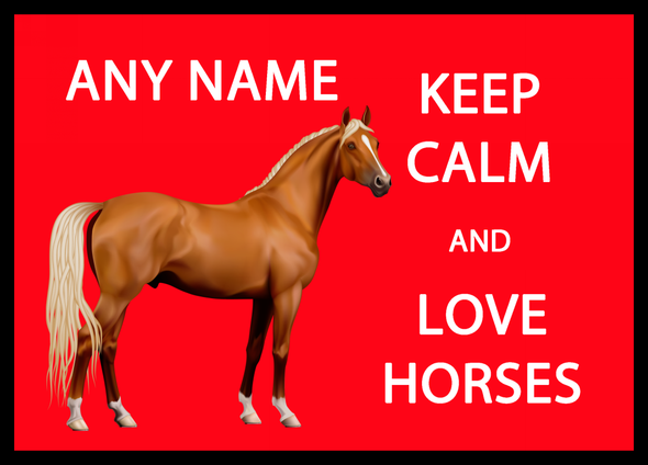 Keep Calm And Love Horses Red Personalised Computer Mousemat