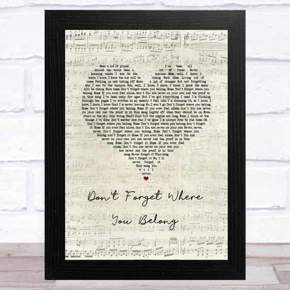 One Direction Don't Forget Where You Belong Script Heart Song Lyric Music Art Print
