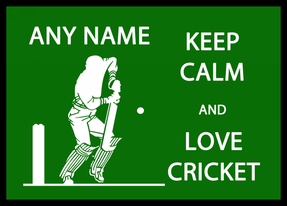 Keep Calm And Love Cricket Personalised Computer Mousemat