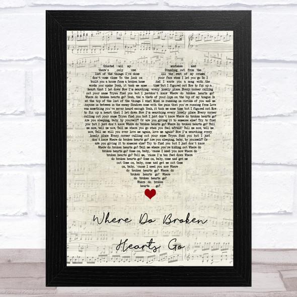 One Direction Where Do Broken Hearts Go Script Heart Song Lyric Music Art Print
