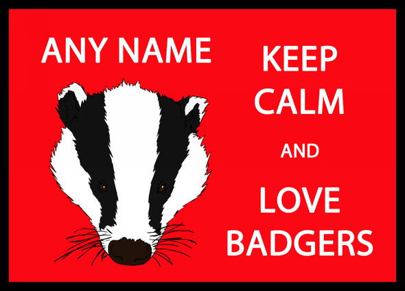 Keep Calm And Love Badgers Personalised Computer Mousemat