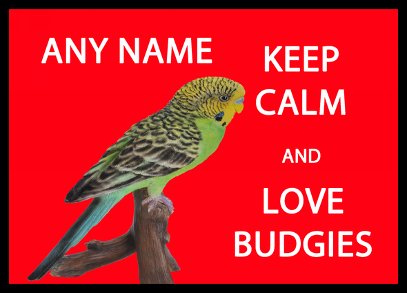 Keep Calm And Love Budgies Personalised Computer Mousemat