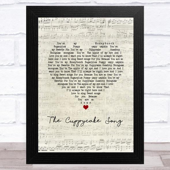 The Cuppycake Song Script Heart Song Lyric Music Art Print