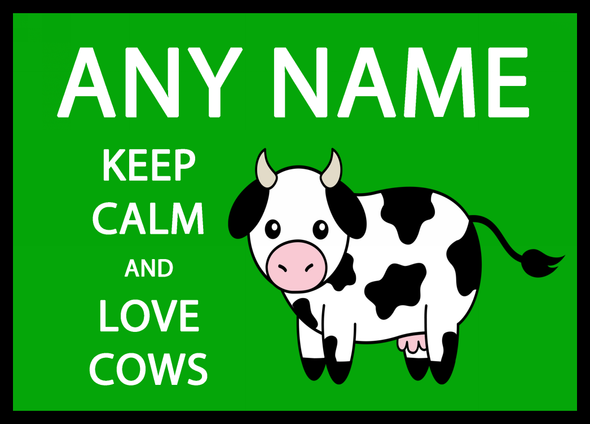 Keep Calm And Love Cows Green Personalised Computer Mousemat