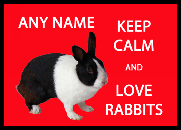 Keep Calm And Love Rabbits Personalised Computer Mousemat
