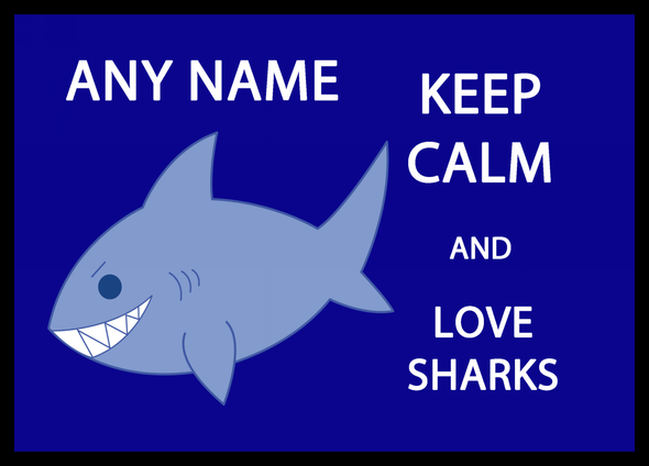 Keep Calm And Love Sharks Personalised Computer Mousemat