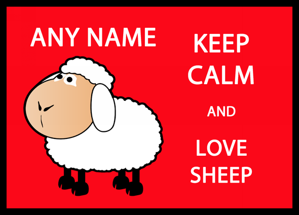 Keep Calm And Love Sheep Personalised Computer Mousemat