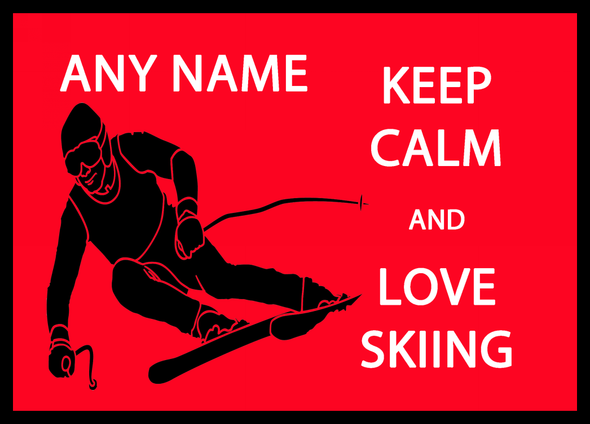 Keep Calm And Love Skiing Personalised Computer Mousemat