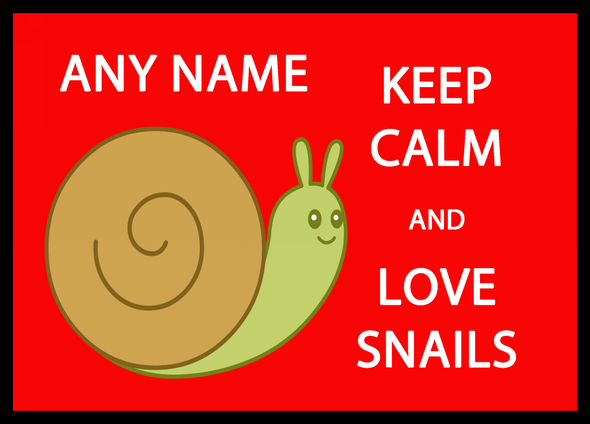 Keep Calm And Love Snails Personalised Computer Mousemat
