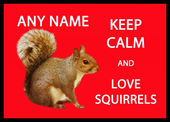 Keep Calm And Love Squirrels Personalised Computer Mousemat