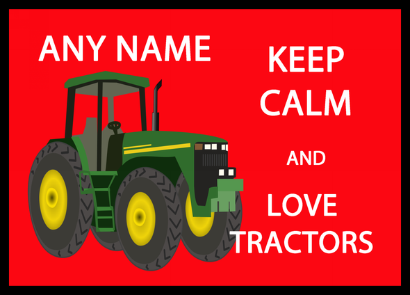 Keep Calm And Love Tractors Personalised Computer Mousemat