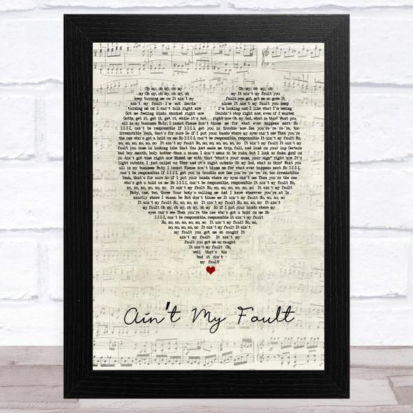 Zara Larsson Ain't My Fault Script Heart Song Lyric Music Art Print