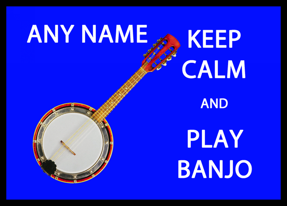 Keep Calm And Play Banjo Personalised Computer Mousemat