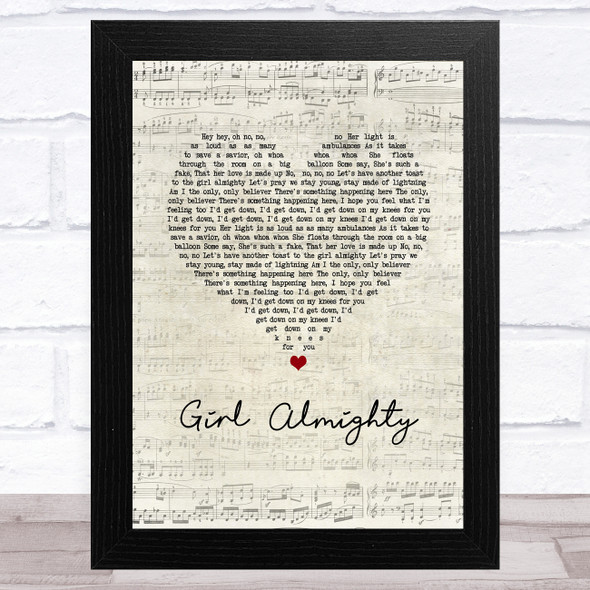 One Direction Girl Almighty Script Heart Song Lyric Music Art Print