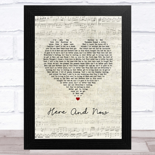 Kenny Chesney Here And Now Script Heart Song Lyric Music Art Print
