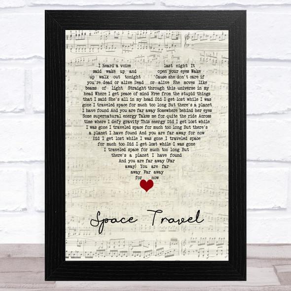 Yellowcard Space Travel Script Heart Song Lyric Music Art Print