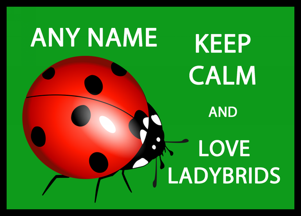 Keep Calm And Love Ladybirds Green Personalised Computer Mousemat