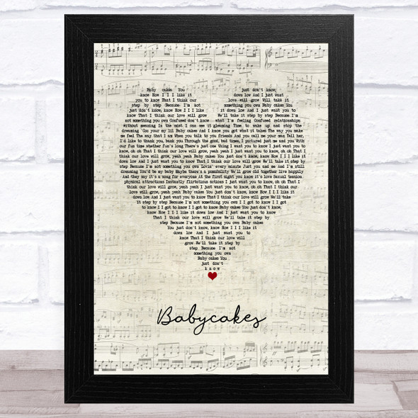 3 of a Kind Baby Cakes Script Heart Song Lyric Music Art Print