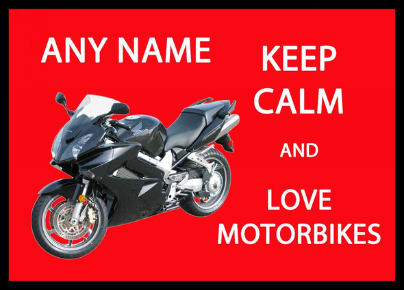Keep Calm And Love Motorbikes Personalised Computer Mousemat