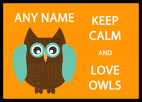 Keep Calm And Love Owls Personalised Computer Mousemat